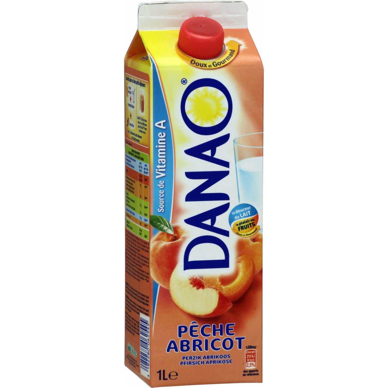 Danao Pêche Abricot une vague de fraîcheur aux fruits et au lait pour le petit-déjeûner.