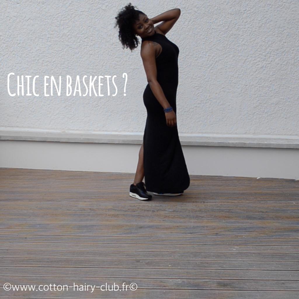 chic en basket grwm mymou femme noire robe et baskets