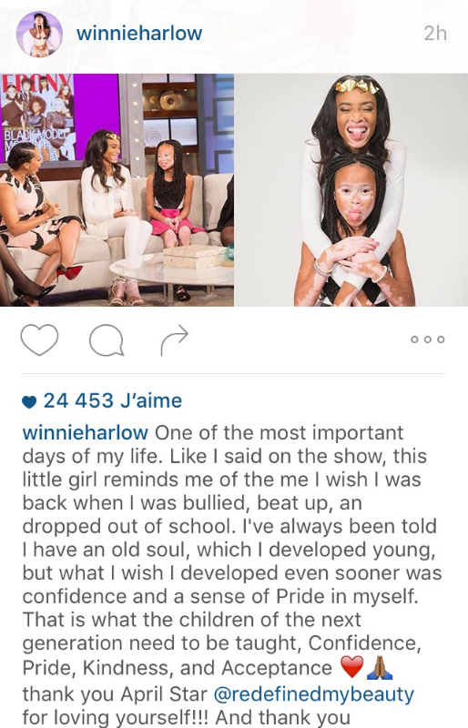 Le post de Winnie Harlow